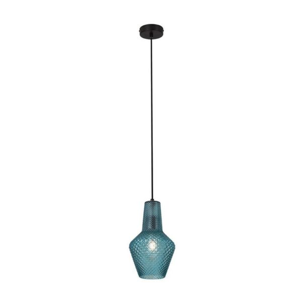 EUROLUX Milano P796BL Pendant, Small,1 Light, Blue Glass