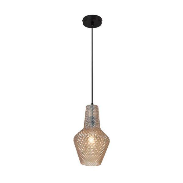 EUROLUX Milano P797AM Pendant, Large, 1 Light, Amber Plated Glass