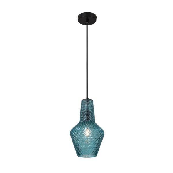 EUROLUX Milano P797BL Pendant, Large, 1 Light, Blue Glass