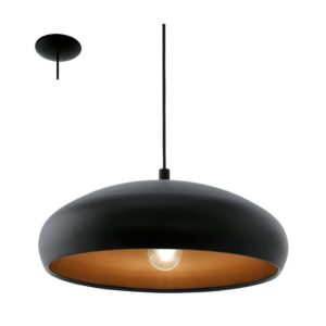 EUROLUX Mogano P685B Pendant, 1 Light, Black