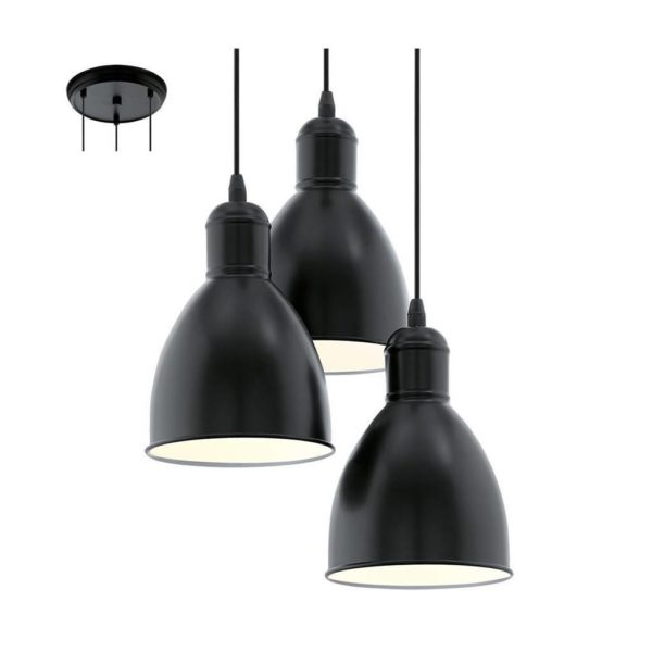 EUROLUX Priddy P696B Pendant, 3 Lights, Black