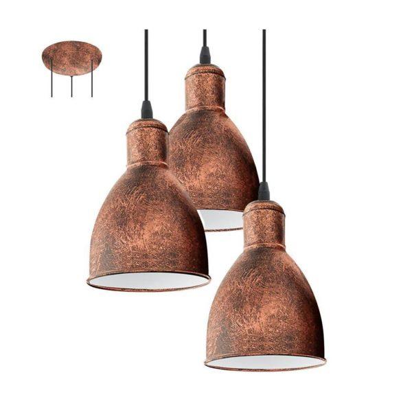 EUROLUX Priddy P696C Pendant, 3 Lights, Copper