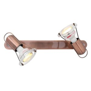 EUROLUX S21C Mini Disc Spot Light With Bar Mount, 2 x E14, 40W, Copper