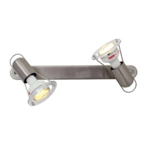EUROLUX S21SC Mini Disc Spot Light With Bar Mount, 2 x E14, 40W, Satin Chrome