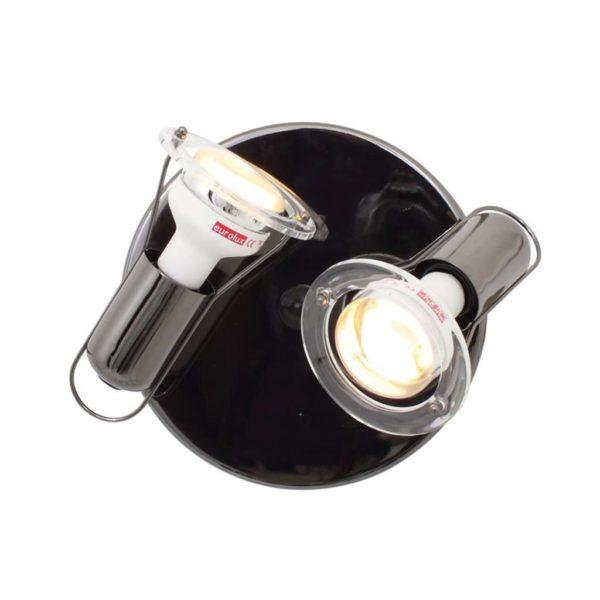 EUROLUX S23GM Mini Disc Spot Light On Plate, 2 x E14, 40W, Gun Metal