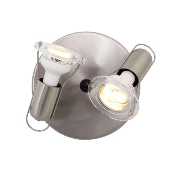 EUROLUX S23SC Mini Disc Spot Light Plate, 2 x E14, 40W, Satin Chrome