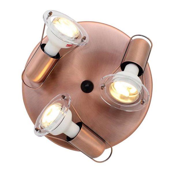 EUROLUX S25C Mini Disc Spot Light Plate, 3 x E14, 40W, Copper