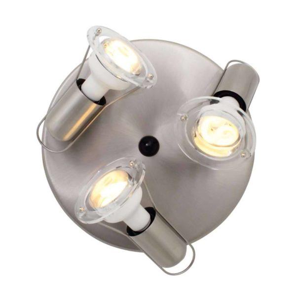 EUROLUX S25SC Mini Disc Spot Light Plate, 3 x E14, 40W, Satin Chrome