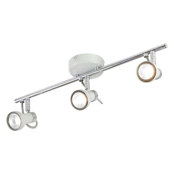 EUROLUX S339 Swan Spot Light On Bar Mount, 3 x GU10, 50W, White & Chrome