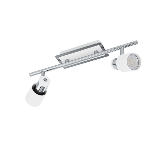 EUROLUX S372 Davida LED Spot Light On Bar Mount, 2 x GU10, 5W, Chrome & White