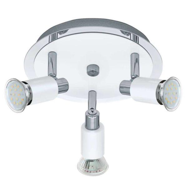 EUROLUX S420 Eridan Round LED Spot Light, 3 x GU10, 5W, Satin Chrome & White