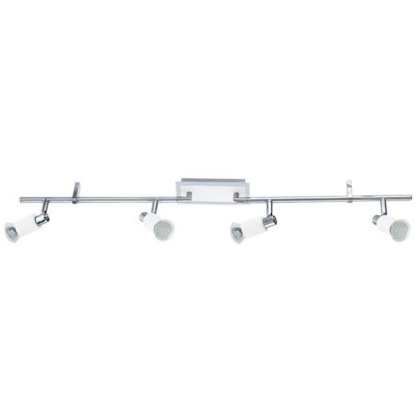 EUROLUX S432 Eridan LED Spot Light On Bar Mount, 4 x GU10, 5W, Satin Chrome & White