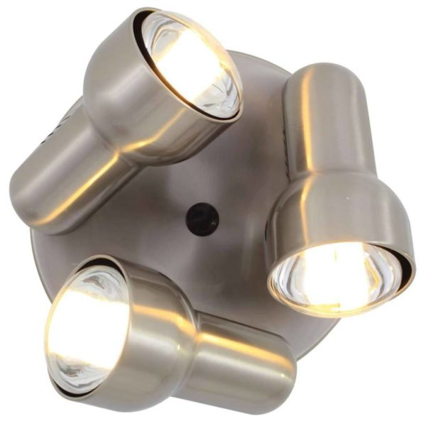 EUROLUX S45SC Turbo Round Spot Light, 3 x E27, R80, 60W, Satin Chrome
