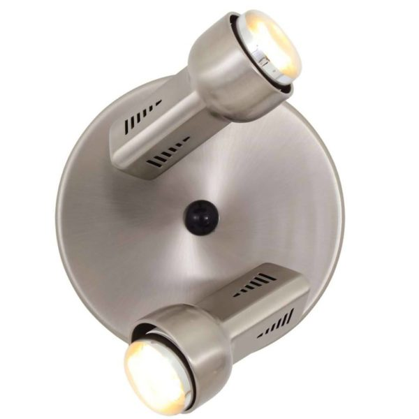 EUROLUX S75SC Delta Spot Light On Round Plate, 2 x E14, R50, 40W, Satin Chrome