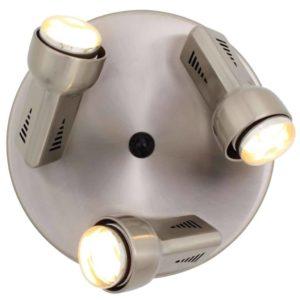 EUROLUX S76SC Delta Spot Light On Round Plate, 3 x E14, R50, 40W, Satin Chrome