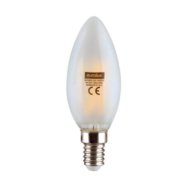 EUROLUX Soft Hue LED Filament Candle, E14, 4W, Warm White