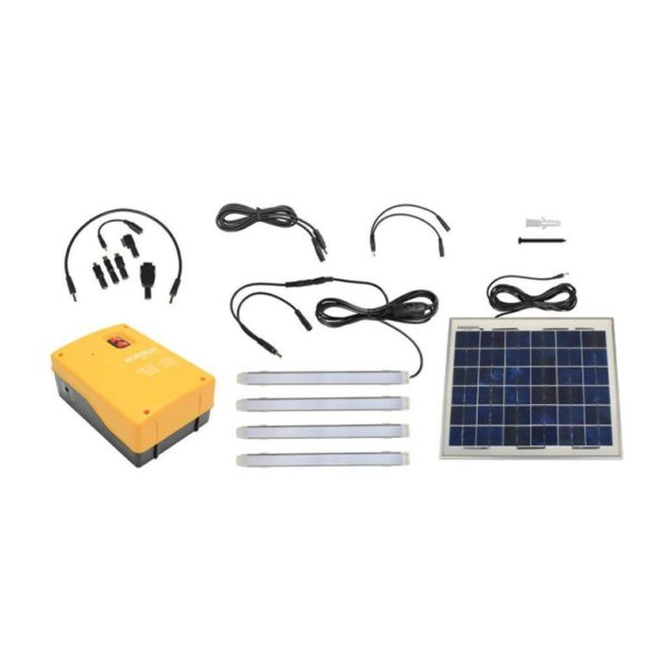 EUROLUX Solar Charging Kit With 10W PV Panel, Phone Charger & 4 x LED Tubes