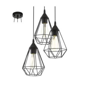 EUROLUX Tarbes P691 Pendant, 3 Lights, Black, 310mm x 264mm