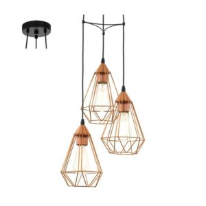 EUROLUX Tarbes P691C Pendant, 3 Lights, Copper, 310mm x 264mm