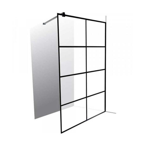 Everest Shower Screen, 8 Panels, Matte Black, 1200 x 2000mm