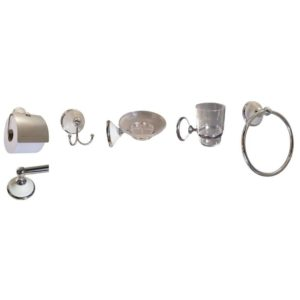 Roman Bathroom Set, 6-Piece, Chrome Plated