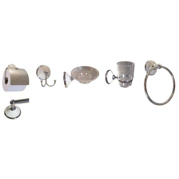 Roman Bathroom Set, 6-Piece, Chrome Plated