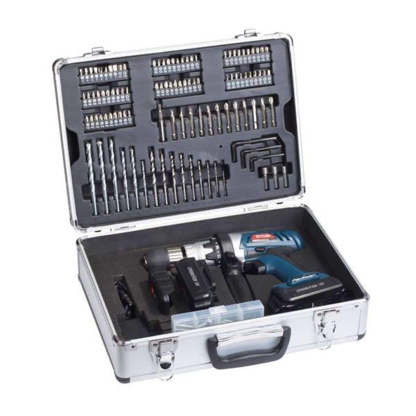 RYOBI Cordless Li-Ion Driver Drill Kit, CLD-1860K, 2 Batteries, 158-Piece Acccessories, 18V