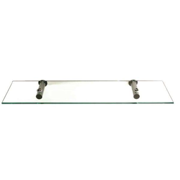 Shelca Cowrie Venus Glass Shelf, Polished Stainless Steel