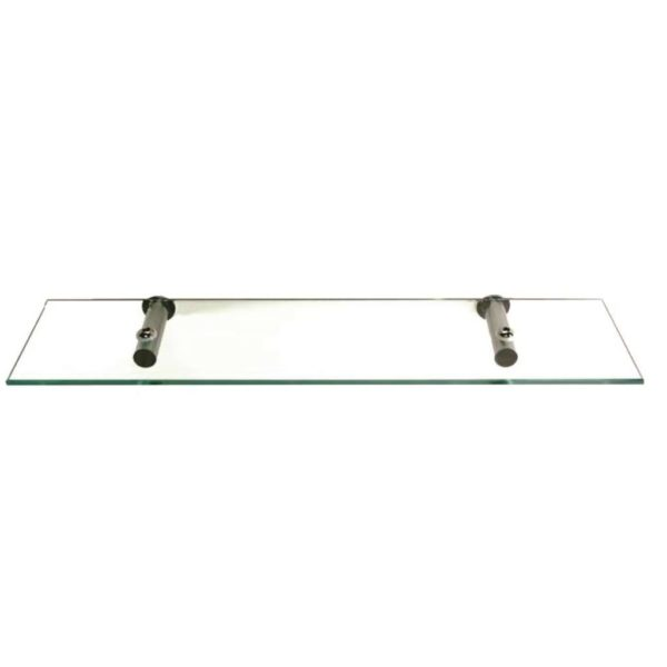 Shelca Oyster Nala Glass Shelf, Brushed Stainless Steel Brackets