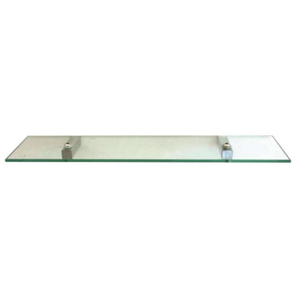 Shelca Pearl Square Glass Shelf, Stainless Steel Brackets