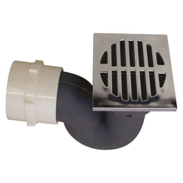 Square Shower Trap, PVC, Chrome Plated Top