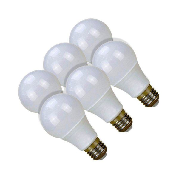SuperBright 9W LED Light Bulb (Equiv 85W), E27 Screw, Cool White, Pack Of 6