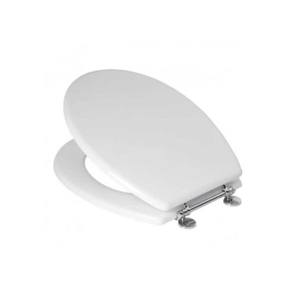 Toilet Seat with Chrome Bar Hinge, MDF, Triumph, White