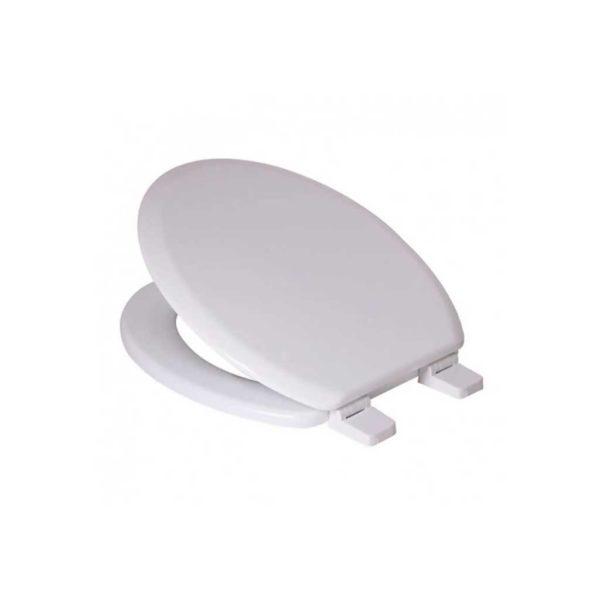 Toilet Seat with Nylon Hinge, Soft Close, MDF, White