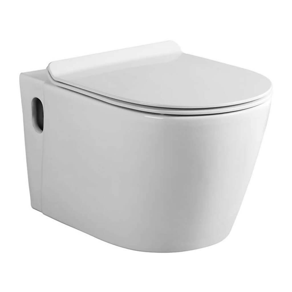 BIJIOU Amour Wall Hung Pan with Soft Close Seat, Vitreous China