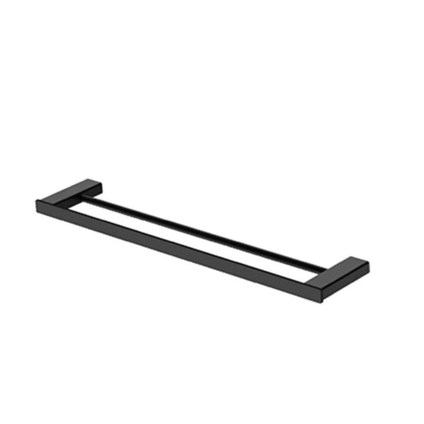 BIJIOU Clermont Double Towel Rail, 60cm, Solid Brass, Matt Black