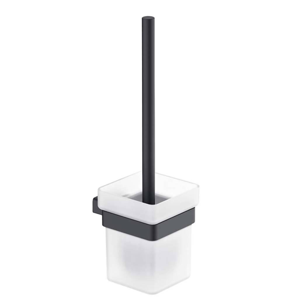 BIJIOU Clermont Toilet Brush & Holder, Solid Brass & Frosted Glass, Matt Black