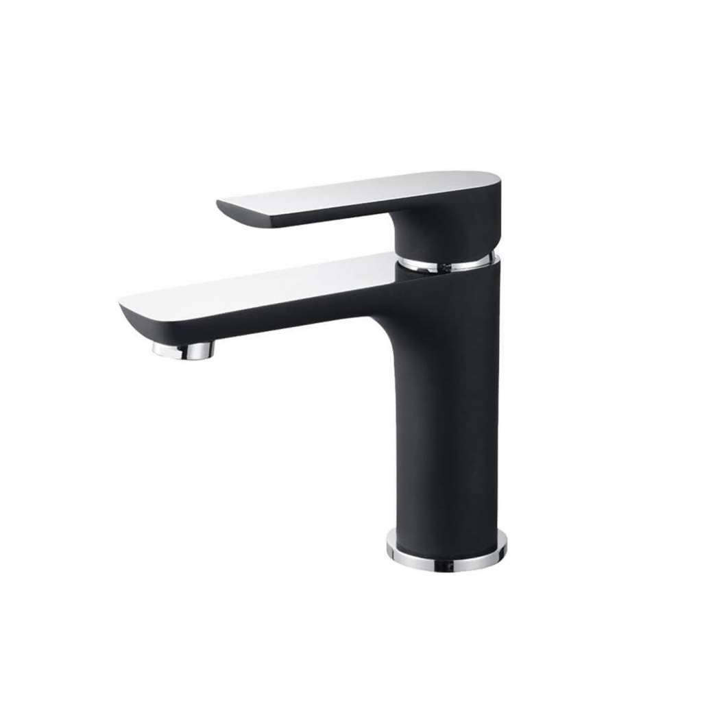 BIJIOU Geneva Basin Mixer, Short Body, DZR Brass, Charcoal Black & Chrome