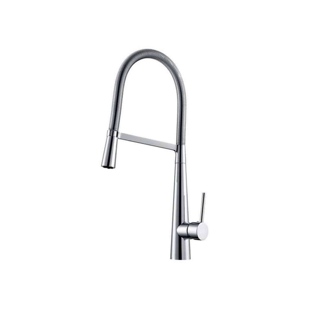BIJIOU Meuse Kitchen Sink Mixer with Swivel Spout & Stainless Steel Spring hose, DZR Brass, Chrome Plated