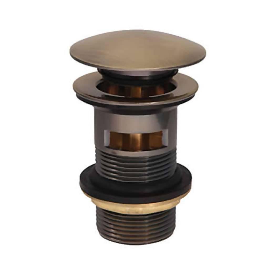 BIJIOU Slotted Waste Basin Plug with Pop-In, Brass, Vintage Bronze, 32mm
