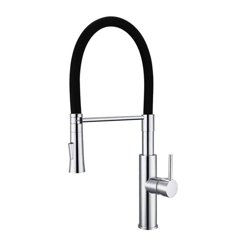 BIJIOU Vilaine Kitchen Sink Mixer with Swivel Spout & Black Silicone Hose, DZR Brass, Chrome & Black