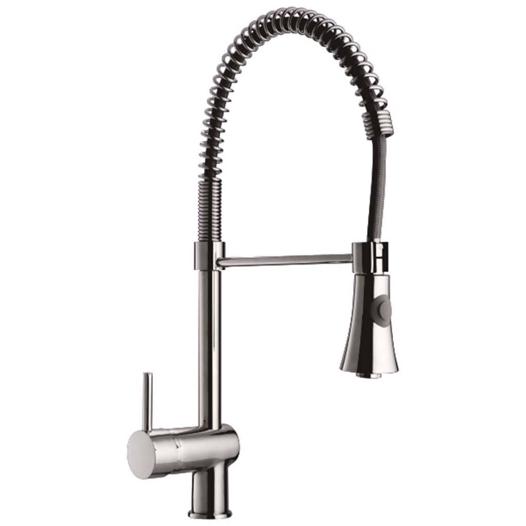 Braddan High Rise Spring Kitchen Sink Mixer, Stainless Steel
