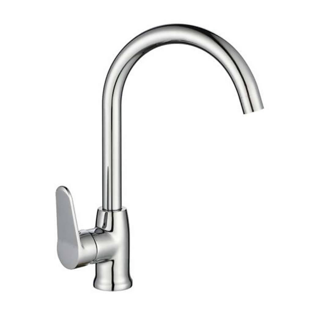 Crystal Deck Type Sink Mixer, P-Shape Swivel Spout, Chrome Plated DZR Brass