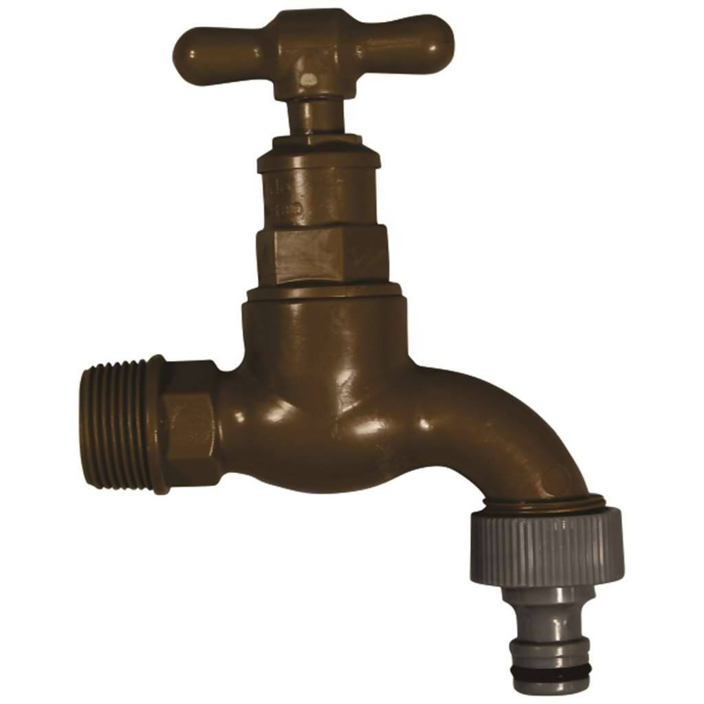 Garden Tap, Pro-Close, 30mm x 86mm x 30mm, Plastic, Brown