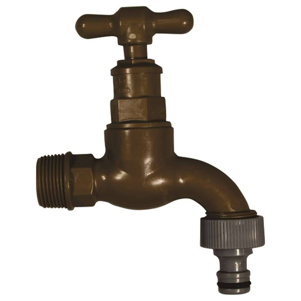 Garden Tap, Pro-Close, 86mm x 86mm x 30mm, Plastic, Brown