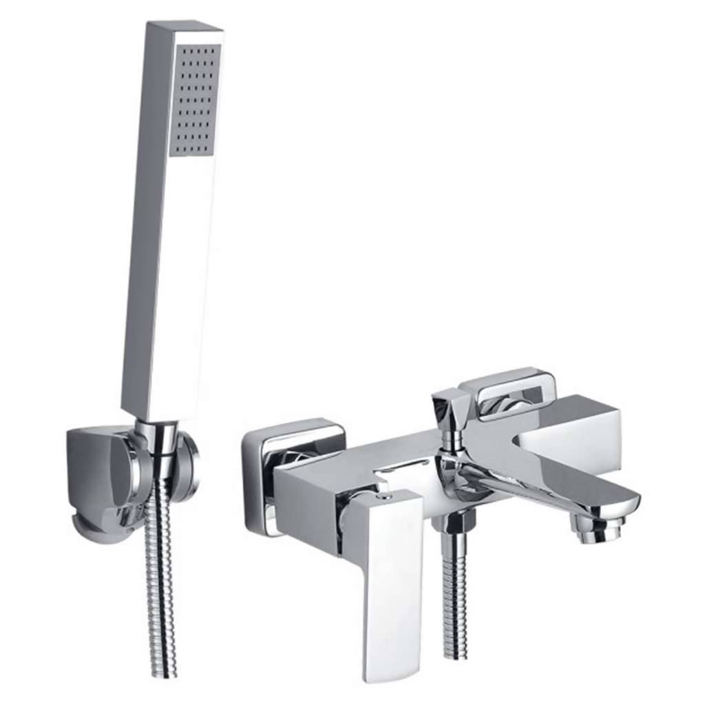Jasper Wall Mounted Bath Mixer with Hand Shower, Chrome Plated DZR Brass