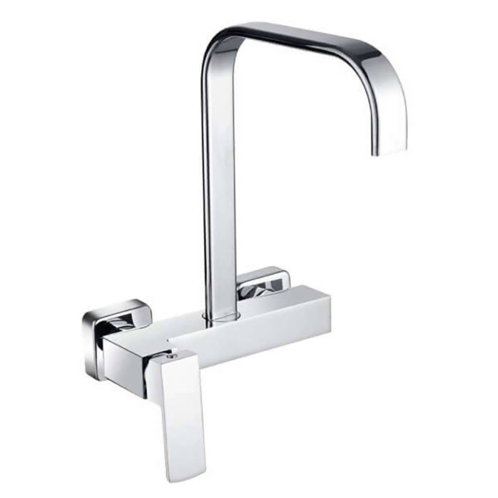 Jasper Wall Mounted Sink Mixer with Swivel Spout, Chrome Plated DZR Brass