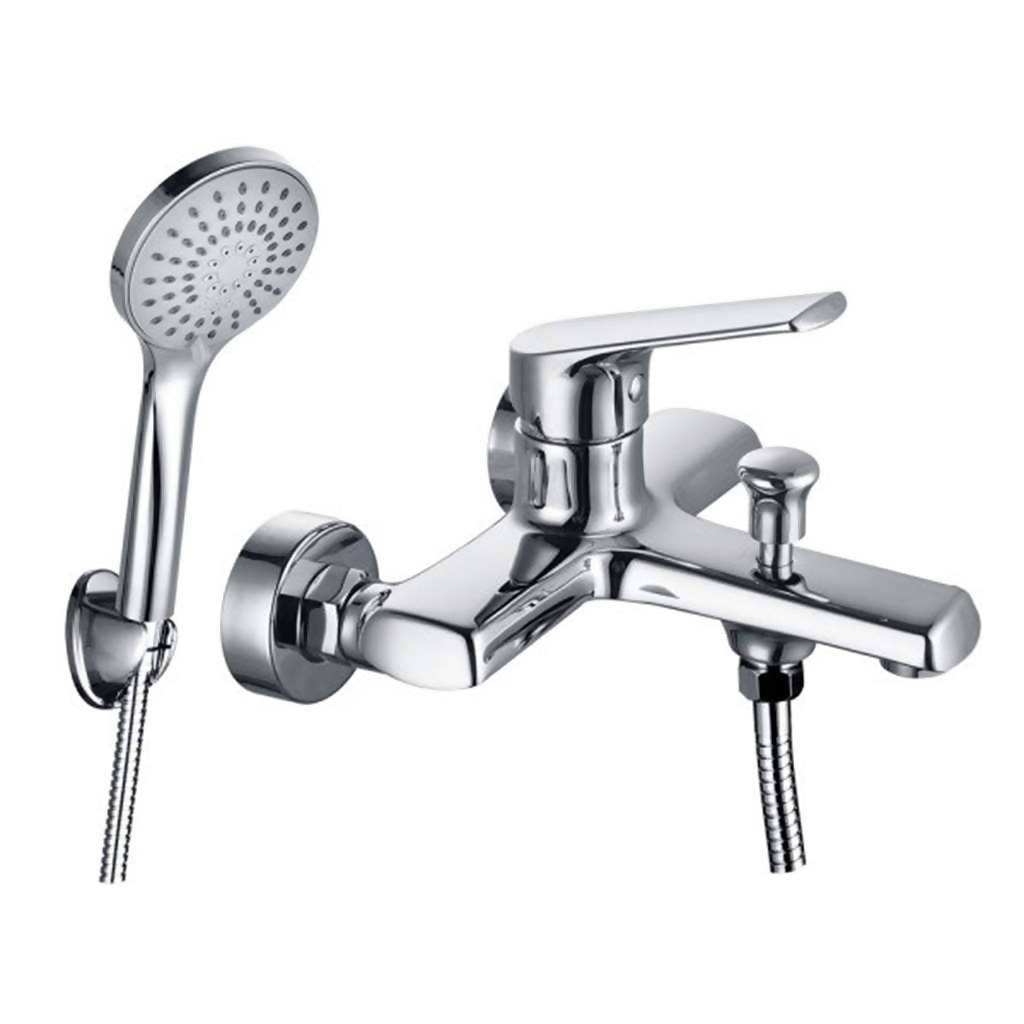 Montana Wall Mounted Bath Mixer with Hand Shower, Chrome Plated DZR Brass