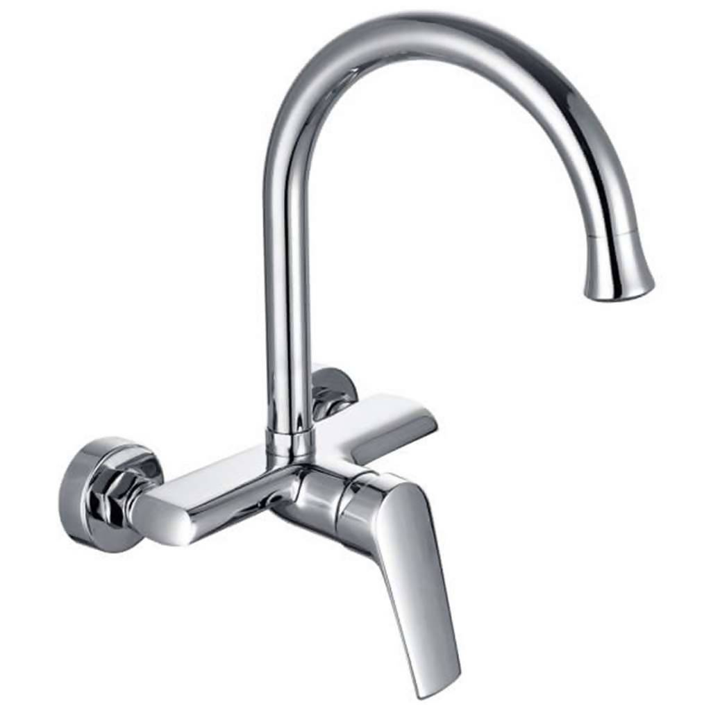 Montana Wall Mounted Sink Mixer with Swivel Spout, Chrome Plated DZR Brass