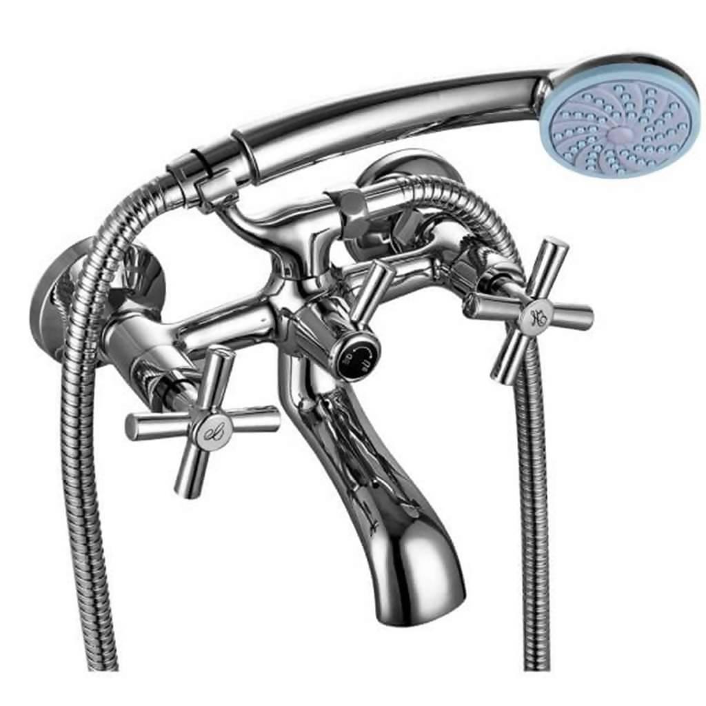 Polar Wall Mounted Bath Mixer with Handshower, Chrome Plated DZR Brass